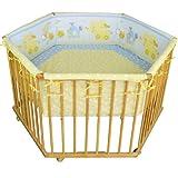 """Honey Bee"""" Parc bébé de luxe parc enfant 6 square parc de bebe bleu/jaune clair -..."""