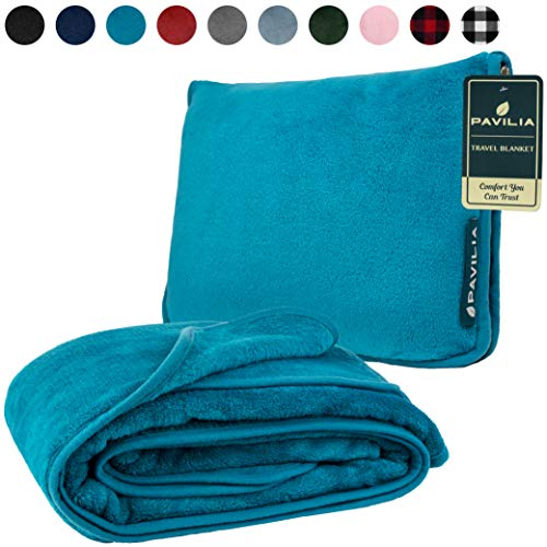 PAVILIA Travel Blanket with Soft Bag Pillow Case, Compact Blanket for Airplane, Road Trip, Camping | Large Portable Fleece Blanket for Plane Car Bus Train with Hand Luggage Strap 60x43 (Blue Teal)