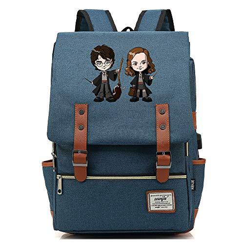 NYLY Harry Potter Backpack Mochila Casual Anime Avatar Mochila de Estudiante para Diez a dieciséis años Mochila para portátil con Puerto USB Unisex Azul Oscuro