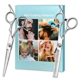 Tijeras para el cabello, tijeras profesionales de peluquería de acero inoxidable, color plateado