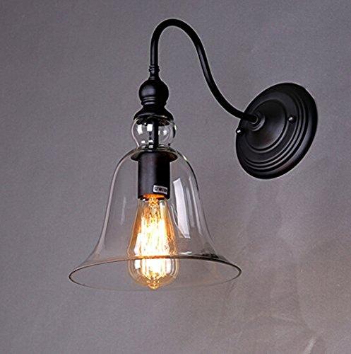 Asvert Aplique de Pared Lámpara de cristal en forma de Cloche retro vintage Edison E27 rústico Base para dormitorio Cocina Bar Loft Café Negro