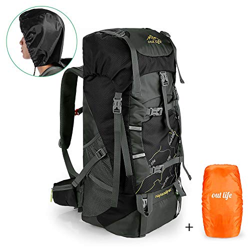 outlife Hiking Backpack, 60L Large Rucksack for Men Women, Tear and Water-resistant Ideal for Camping Trekking Travel Outdoor (Black [Upgraded])
