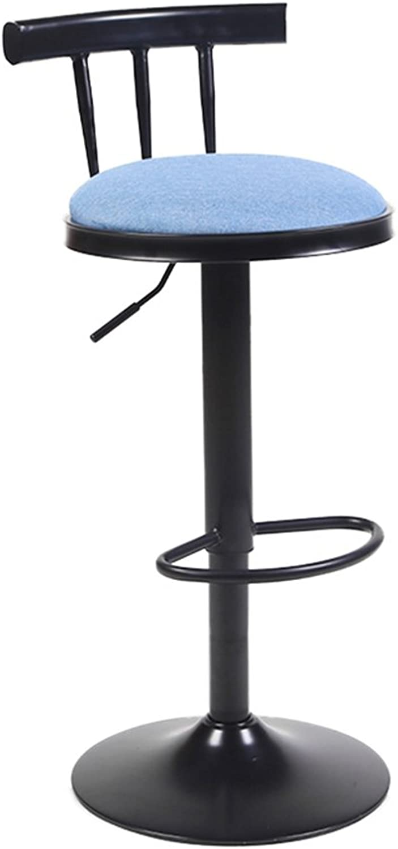 NYDZ Retro Linen Backrest Stool Cafe Chair Swivel High Stool Bar Chair Table Stool High Chair Can Be Raised (62-82) cm (color   C)
