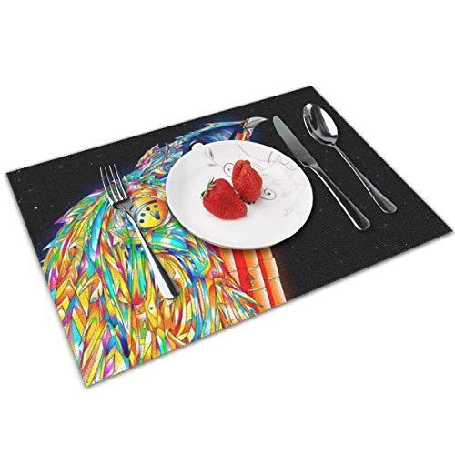 Manteles individuales de color para pájaros con dinamita, Manteles resistentes al calor Alfombrillas resistentes a las manchas Manteles individuales para mesa de cocina, juego de 4,12 '18'
