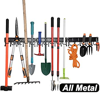 YueTong All Metal Garden Tool Organizer,Adjustable Garage Wall Organizers and Storage,Heavy Duty Wall Mount Holder with Hooks for Broom,Rake,Mop,Shovel 3 Pack