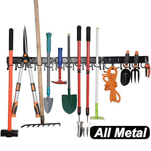 YueTong All Metal Garden Tool Organizer,Adjustable Garage Wall Organizers and Storage,Heavy Duty Wall Mount Holder with Hooks for Broom,Rake,Mop,Shovel.(3 Pack)