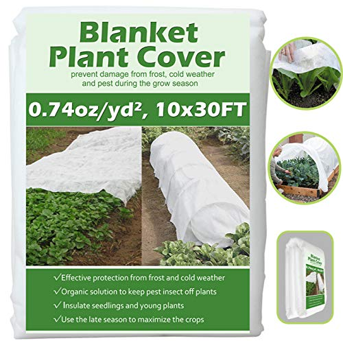 Valibe Plant Covers Freeze Protection 10 ft x 30 ft Floating Row Cover Garden Fabric Plant Cover for Winter Frost Protection Sun Pest Protection (10FT X 30FT)
