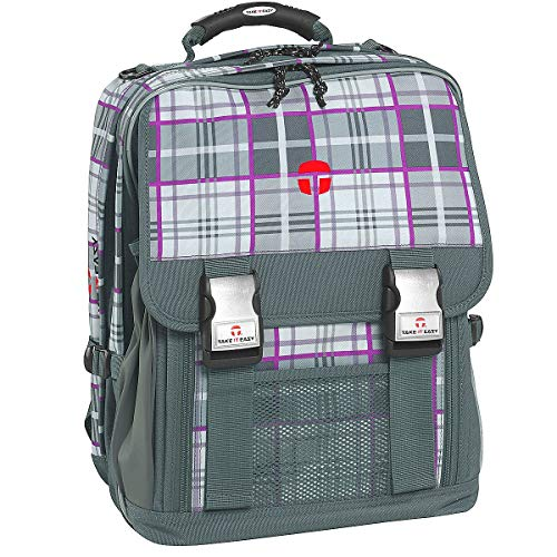 Take it Easy Actionbags Schulrucksack London 40 cm Kilt grau/lila