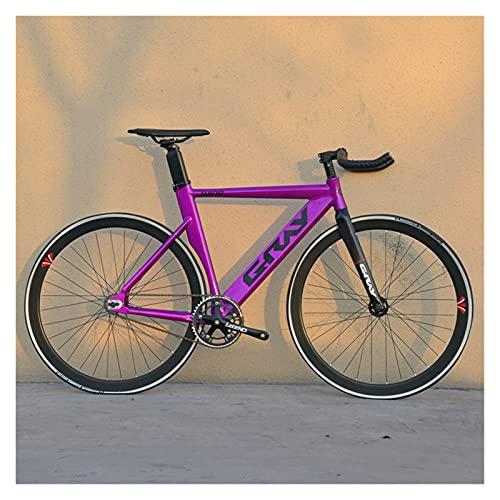 Story Bicicleta de Engranajes fijos 48 cm 52 cm 55 cm Bicicleta de Aluminio de Aluminio de una Sola Velocidad de Aluminio Bicicleta 700C 3/4 radios RAPA DE RACIDO V Freno (Color : Purple, Size : 1)