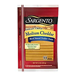 Sargento Medium Cheddar Natural Cheese Slices, great on grilled cheese and perfect for sandwiches, 8