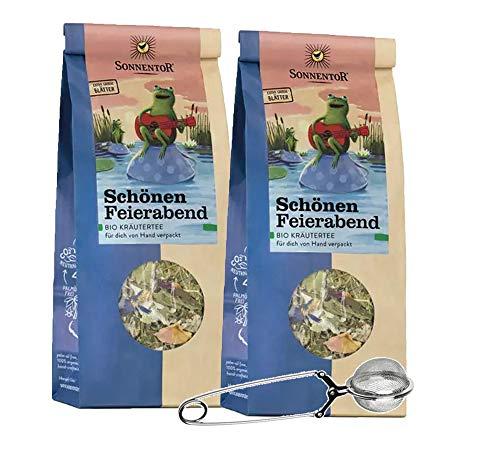 Sonnentor 2x Schönen Feierabend Kräutertee lose (je 50g) Bio-Kräutermischung + Teezange AT-BIO-301