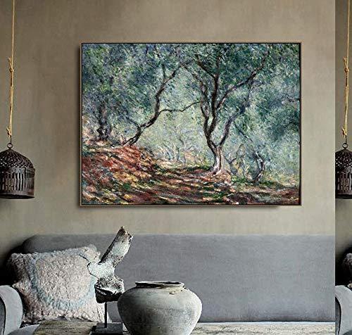"""Monet Ölgemälde auf Leinwand Kunstplakat\""""Der Olivenbaum im Moreno Garten\"""" Ölgemälde Wanddekoration Wohnzimmer rahmenlose Dekoration Bild A35 40x60cm"""