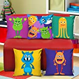 TIED RIBBONS Satin Jumbo Size Cushion Cover for Kids Room Sofa Bunk Beds (18x18 inches, Multicolour) -Set of 5