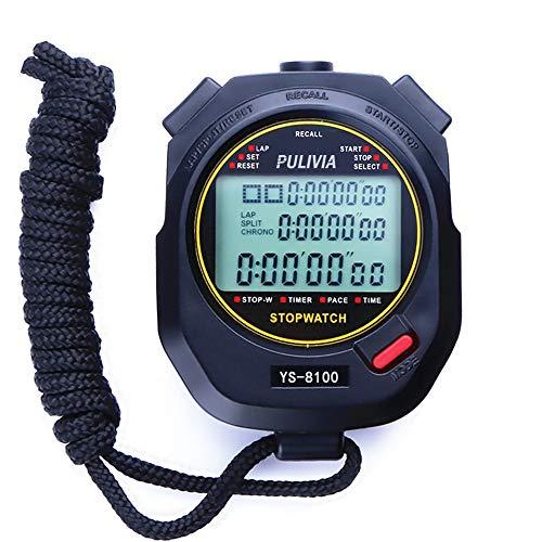 PULIVIA Cronometro Sportivo,Cronometro Digitale con Memoria a 100 Giri,Timer Conto alla Rovescia...