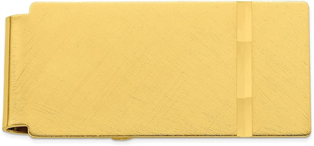 Diamond2Deal Gold-Plated Kelly Waters Florentine Satin Hinged Money Clip for Men (Length: 23 mm|Width: 50mm)