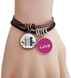 Singapore Flyer and Buildings Love Bracelet Leather Rope Wristband Couple Set