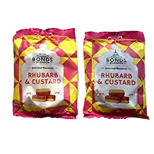 bonds of london rhubarb and custard sweets 2 x 150g bags Bonds of London Rhubarb and Custard Sweets 2 x 150g Bags 51ECG3RDC8L