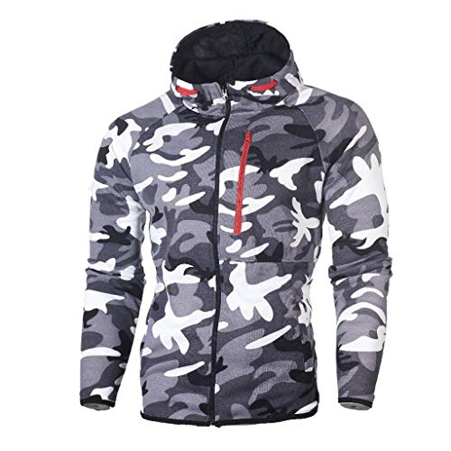 Great Price! Simayixx Men's Sport Coat, Keep Warm Zipper Hoodie Winter Camouflage Sweatshirt Long Sl...