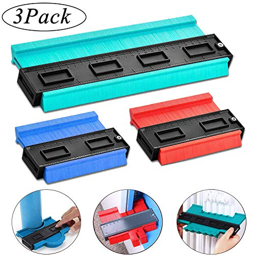 3 Pack Plastic Contour Gauge, Profile Gauge Multifunctional Measure Ruler Contour Duplicator for Professional Precise Measurement Tiling Laminate Wood Marking Tool (10 in Green, 5 in Blue and Red)