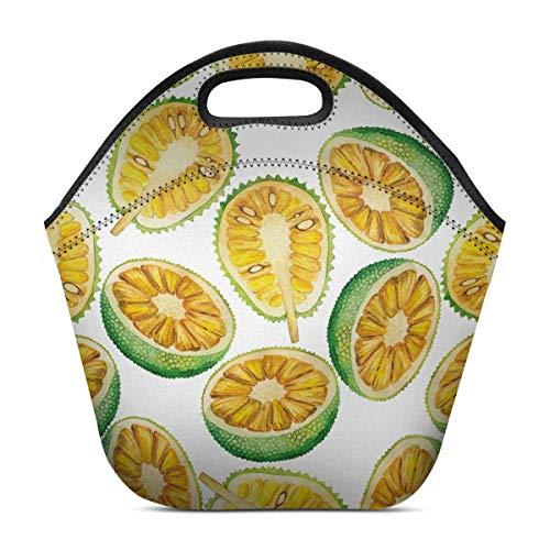 Sunny R Neopren Lunch Bag Aquarell Brotfrucht und Jackfrucht exotische Pflanzen isoliert Tote Handtasche