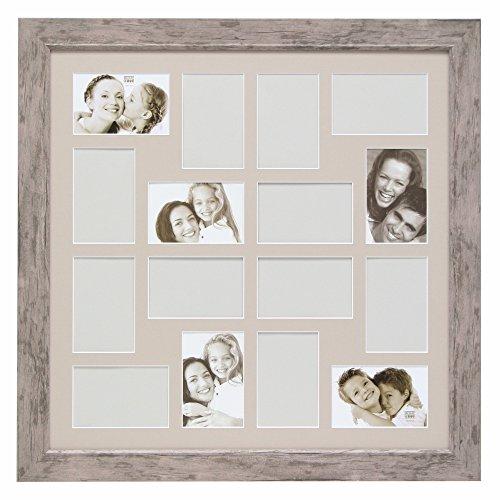 Deknudt Frames S48SH7P16 Bilderrahmen, Galerierahmen für 16 Fotos, Holz, 10 x 15 cm, Grau/Beige