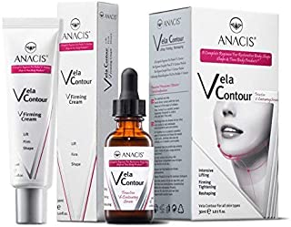 Neck Firming and Tightening, Lifting V line, Chin contouring, Reduce Appearance of Double Chin, Loose and Sagging Skin. Vela Contour 30 Ml (CREAM + CERUM)