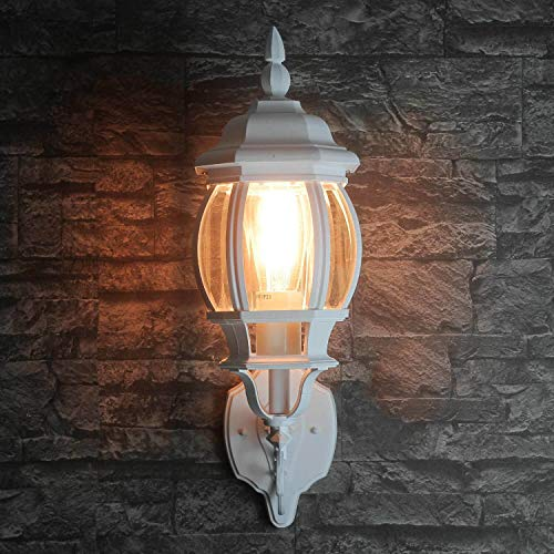 *Wandleuchte außen rustikal weiß 1x E27 bis 60W 230V IP23 dekorative Leuchte für Hauseingang oder Einfahrt Laterne nostalgisch Hof Beleuchtung*