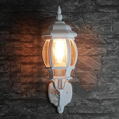 *Rustikale Wandleuchte in weiß inkl. 1x 12W E27 LED Wandlampe aus Aluminium Glas für Garten Terrasse Weg Lampen Leuchte außen Beleuchtung*