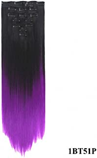 PrettyWit 23-24 Inch Long Straight Ombre Full Head Clip in on Synthetic Hair Extensions 7pcs/set for Women-Black to Purple 1BT51P