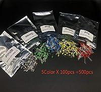 500個/ロットF3 3MM LEDダイオードキット混合色赤緑黄青白