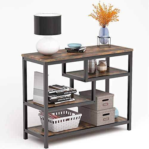 Tribesigns flurtisch Vintage beistelltisch aus Holz und Metall, TV-Tisch konsolentisch für Wohnzimmer,auch als Sideboard,nachttisch,couchtisch