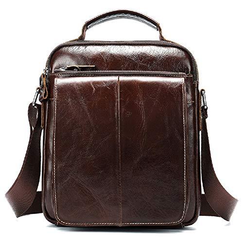 Vertikale Leder-Umhängetasche, Herren Echtleder Aktentasche Messenger Bag Casual Crossbody Business Handtasche