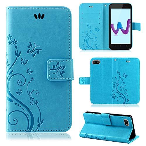 betterfon | Wiko Sunny 3 hülle Flower Hülle Handytasche Schutzhülle Blumen Klapptasche Handyhülle Handy Schale für Wiko Sunny 3 Blau
