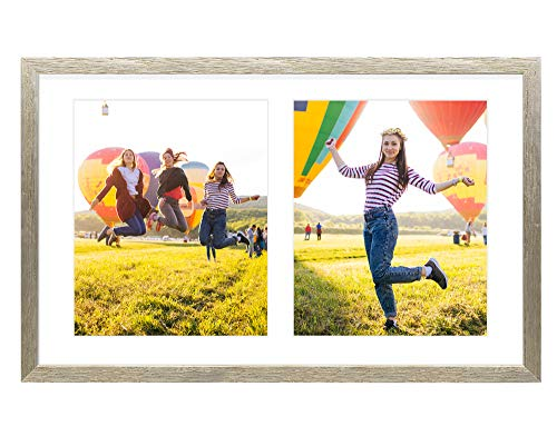 Golden State Art, 12x19 Distressed Silver Wood Frame with White Mat - Displays Two 8x10 Photos - Real Glass, Sawtooth Hanger, Swivel Tabs - Wall Mounting - Great for Collages, Weddings, Engagements