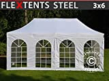 Tente Pliante Chapiteau Pliable Tonnelle Pliante Barnum Pliant FleXtents Steel 3x6m Blanc, avec 4 cotés