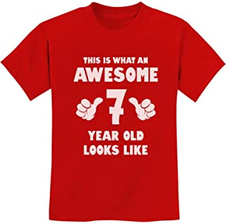This is What an Awesome 7 Year Old Looks Like Birthday Youth Kids T-Shirt