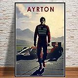 QINGRENJIE F1 Fahrer Ayrton Senna Vintage Wandkunst Poster