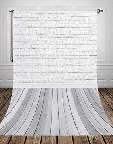 NIVIUS PHOTO® 150*300CM Grau holzboden Studio foto hintergrund Kulisse aus dünnem vinyl weiß ziegel für Neugeborenen Fotografie d-9713