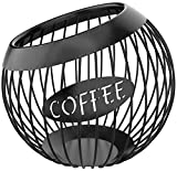 Coffee Pod Holder, Large Capacity K Cup and Espresso Coffee Pod Organizer for Counter Coffee Bar, Metal Coffee Capsule Storage Basket, Black