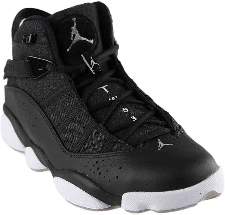 NIKE Mens Jordan 6 Rings Black Silver Leather Size 12
