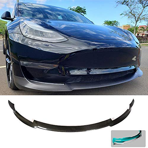 MCARCAR KIT Front Bumper Lip fits Tesla Model 3 Sedan 2016 2017 2018 2019 Add-on Factory Outlet Carbon Fiber CF Chin Spoiler Splitter Protector
