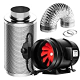 VIVOSUN Ventilation Kit 8 Inch 720 CFM Inline Fan with Speed Controller, 8 Inch Carbon Filter and 25 Feet of Ducting for Grow Tent
