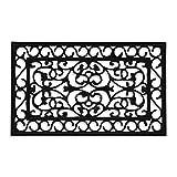 Relaxdays Felpudo de Goma, 75 x 45 cm, Resistente a la Intemperie, Antideslizante, para Interior y Exterior, Color Negro