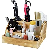 Rustic Wooden Hair Tool Organizer, Blow Dryer Holder Flat Iron Curling Wand Hair Straightener Brushes Hair Tools and Styling Supplies Organizer for Vanity and Bathroom Accessories