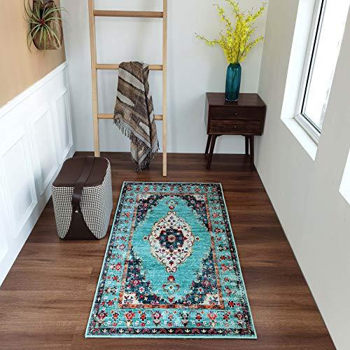 Taleta Durham-Kollektion Orientalischer Teppich mit Medaillon Vintage Wohnzimmer Grün Größe:80 x 150 cm