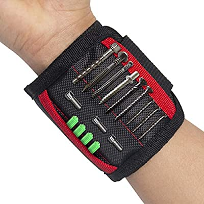 Magnetic Wristband,Tool Arm Band,Adjustable Wrist Tool Holder,Handyman Bracelet Tool with 15 Strong Magnets & 2 Pockets,Gifts for Dad/Father/Chrismas (Black&Red) by Esing