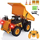 Remote Control Dump Trucks RC Dump Trucks RC Construction Vehicles Toys 6 Ch 2.4G Alloy RC Engineering Truck 4 Wheel Driver Mine Machine Model for 3,4,5,6,7,8,9 Year Old Boys and up, with LED Light