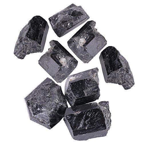 Walfront 1Pcs Turmalina Natural,Turmalina Original, Cristal de Cuarzo Natural, Piedra Turmalina Negra, Material de Joya, 100g(5-7cm)