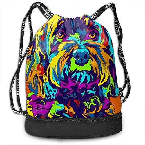 Sacs à Cordon,Sacs de Sport,Sacs à Dos Loisir, Gym Drawstring Sports Bag Simple Quick Dry Bundle Backpack Multi-Color Schnoodle Dog