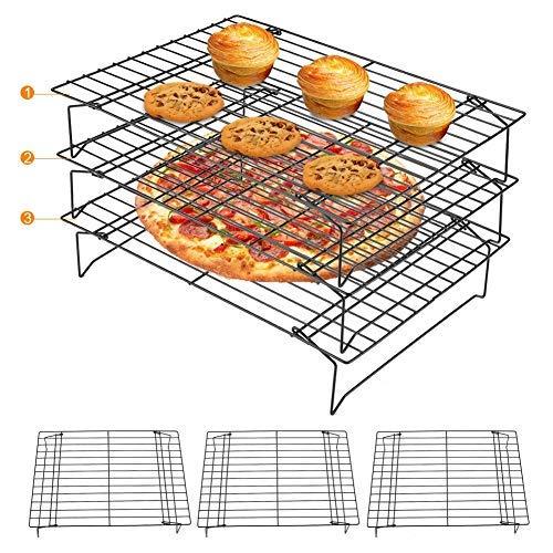 Zerodis graticola in Acciaio Inox Antiaderente, griglia di Cottura Vassoio Rack di Raffreddamento e Cottura Rack a Tre Livelli per Biscotti Torta Pane